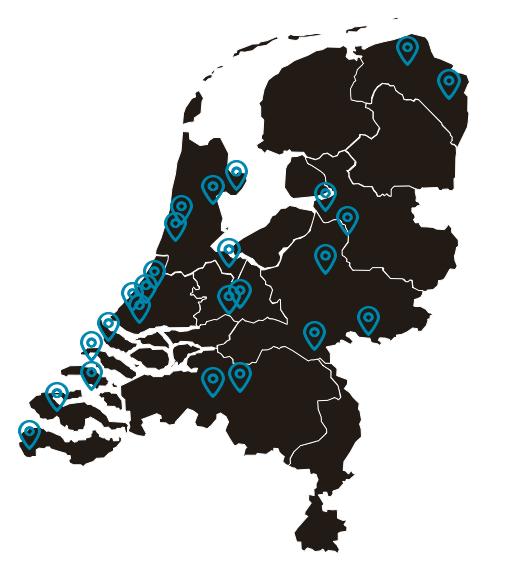 Kaart van Nederland waarop de 29 van SMB staan aangegeven
