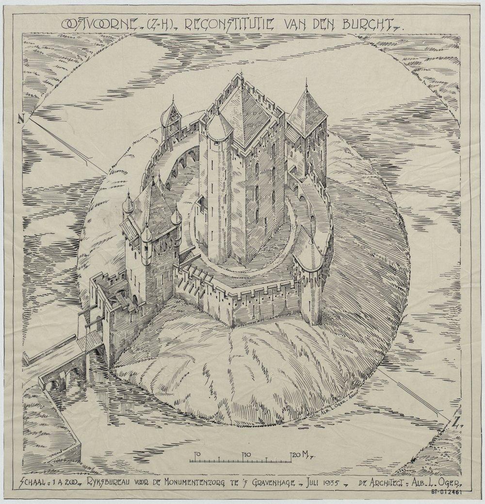 Reconstructie van de burcht, getekend door A.L. Oger, 1935