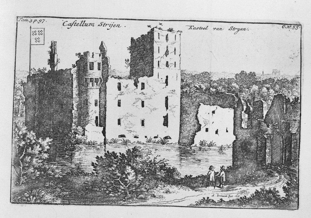 De ruïne van het kasteel van Strijen in de zeventiende eeuw.