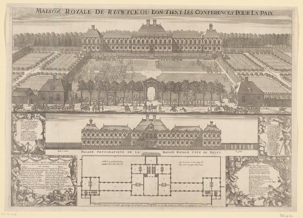 Het Huis ter Nieuburch in Rijswijk, plaats van de vredesonderhandelingen in 1697, J. Abraham Rietkessler, 1697.
