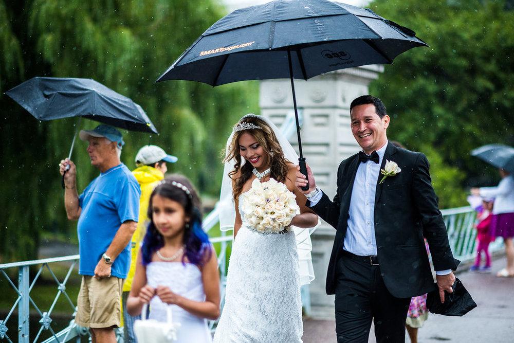 rainy wedding bridge