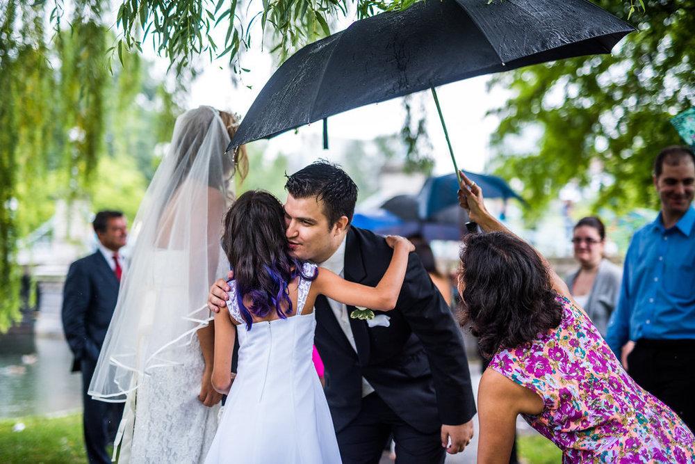 boston public garden wedding rain