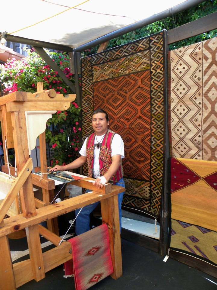 Sergio at work on his hand made loom.