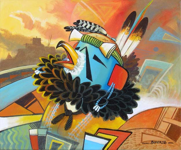 "Eagle Kachina Acrylic on canvas 20"" x 16"""