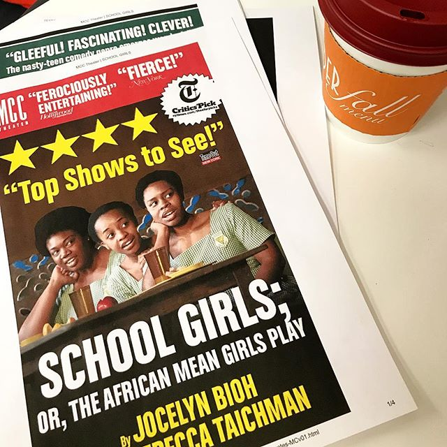 Always a GREAT day when we are in the @mcctheater office slapping the @nytimes #CriticsPick on everything because #schoolgirlsmcc is the hottest hit in town! Congrats to @jjbioh and the entire team on a perfect production. We loved it. And are honored to be part of it.