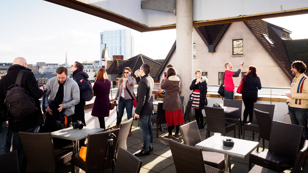 The group meets on a rooftop seating area - part of the hall's last round of refurbishment.