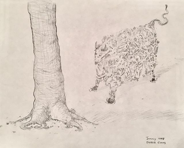 a cow staring at a tree - that's me