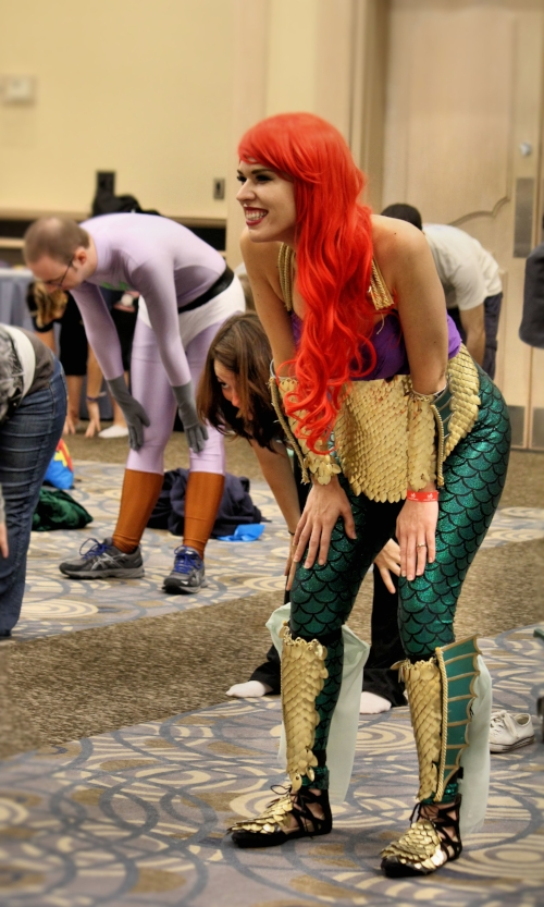 A cosplayer enjoying a YogaQuest. Photo by A2Z photography