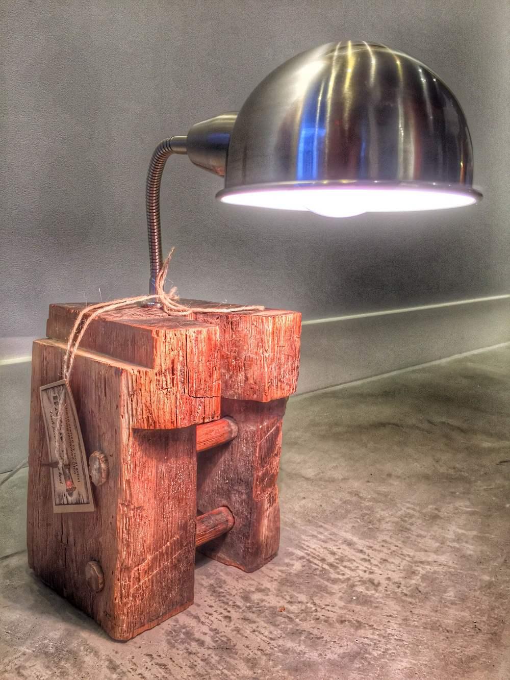 Reclaimed Wood Desk Lamp