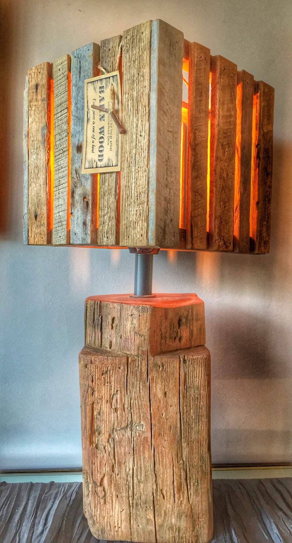 Reclaimed Wood Lamp & Lamp Shade