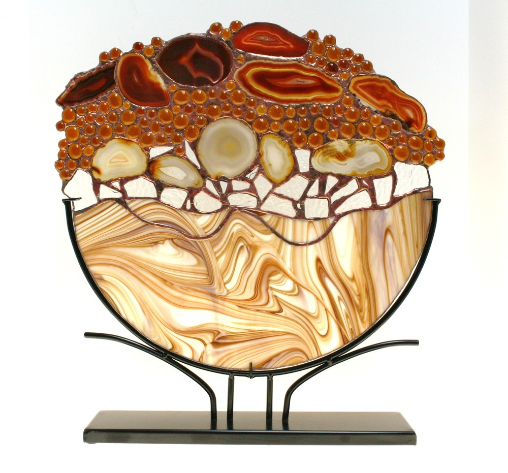 "Artist:   M. Craig Miller Size: 10"" Diameter Medium: Stained Glass Price: Sold"