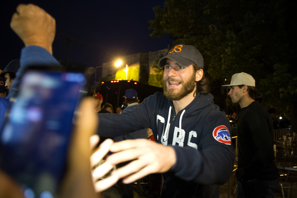 Blackhawks winger Brandon Saad greets fans outside of the Rockit Burger Bar in Wrigleyville as his team celebrates their win Tuesday, June 16, 2015. (Erin Hooley/Chicago Tribune)