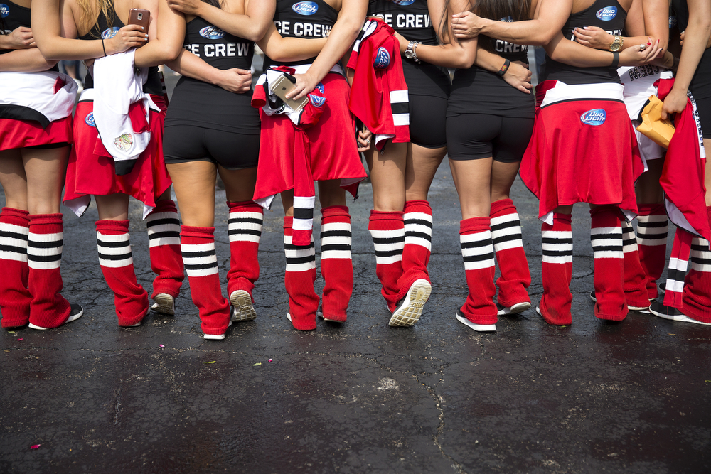 Members of the Chicago Blackhawks Ice Crew wait at the United Center for the start of the Blackhawks championship parade on June 18, 2015. (Erin Hooley/Chicago Tribune)