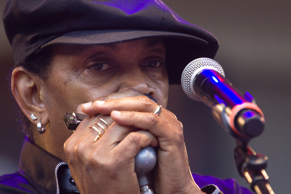 Sugar Blue plays harmonica during the Willie Dixon Centennial Tribute at the Petrillo Music Shell at the Chicago Blues Festival in Grant Park in downtown Chicago Sunday, June 14, 2015. (Erin Hooley/Chicago Tribune)