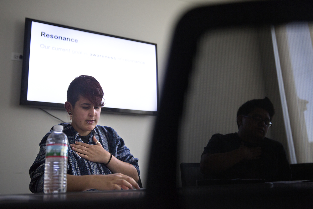 Jay Luciano, 15, a transgender male, does vocal exercises with other students in vocal training class with instructors from Northwestern University at the administrative offices of Lurie Children's Hospital's Division of Adolescent Medicine in Uptown Monday, June 1, 2015. (Erin Hooley/Chicago Tribune)