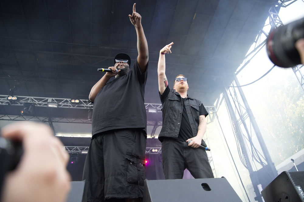 Killer Mike, left, and EI-P perform with their group Run the Jewels at the Pitchfork Music Festival in Union Park in Chicago Sunday, July 19, 2015. (Erin Hooley/Chicago Tribune)