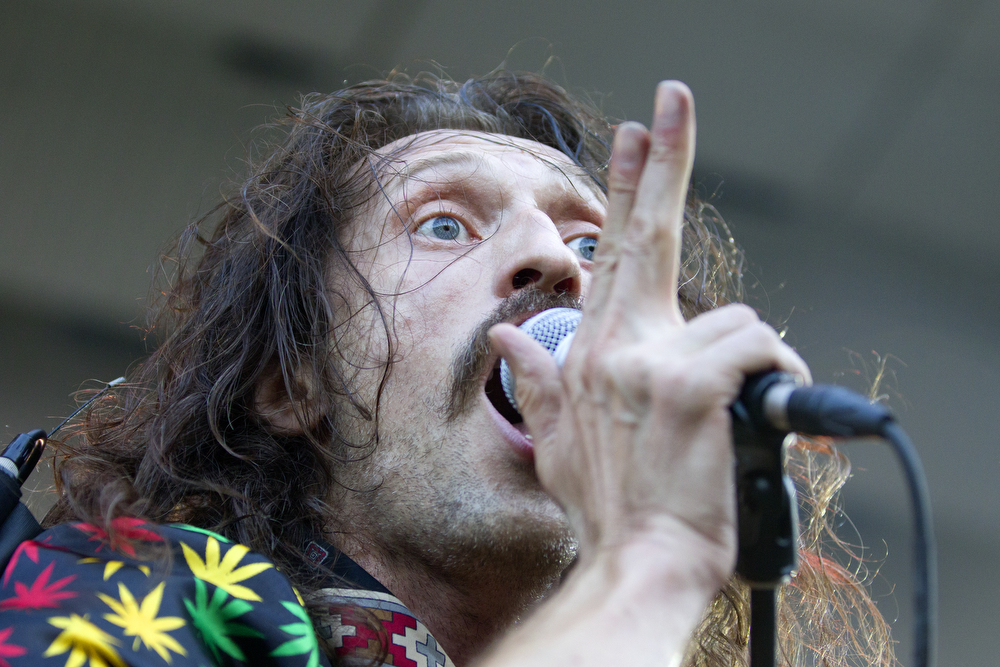 Eugene Hütz performs with his Gypsy punk band Gogol Bordello at the Lollapalooza Music Festival in Grant Park Sunday, August 2, 2015. (Erin Hooley/Chicago Tribune)