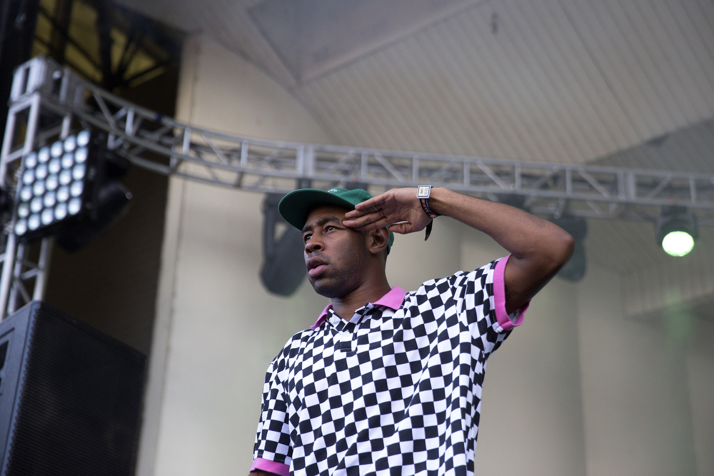 Tyler the Creator performs at the Palladia Stage in Grant Park at the Lollapalooza Music Festival Saturday, August 1, 2015. (Erin Hooley/Chicago Tribune)