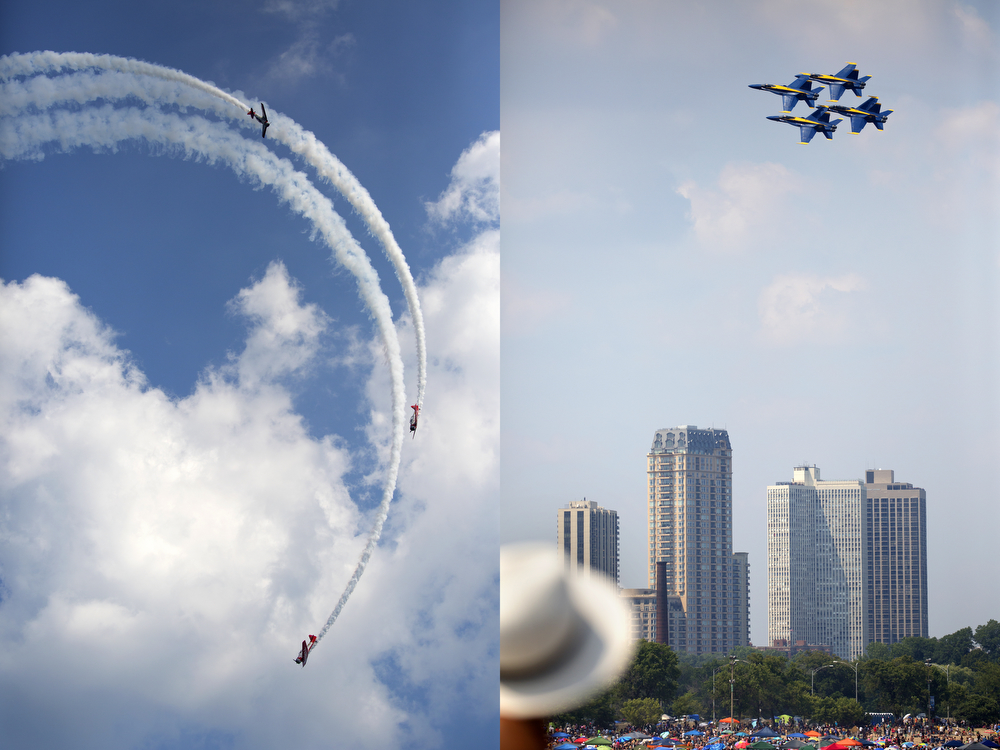 Left: The AeroShell acrobatic team performs at the 2015 Chicago Air & Water Show at North Avenue Beach Sunday, August 16, 2015. (Erin Hooley/Chicago Tribune)   Right: The U.S. Navy Blue Angels F/A-18 Hornets perform at the 2015 Chicago Air & Water Show at North Avenue Beach Sunday, August 16, 2015. (Erin Hooley/Chicago Tribune)