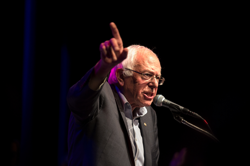 Presidential hopeful U.S. Sen. Bernie Sanders  speaks to supporters gathered at a fundraising rally at Park West Monday, August 17, 2015 in Chicago. (Erin Hooley/Chicago Tribune)