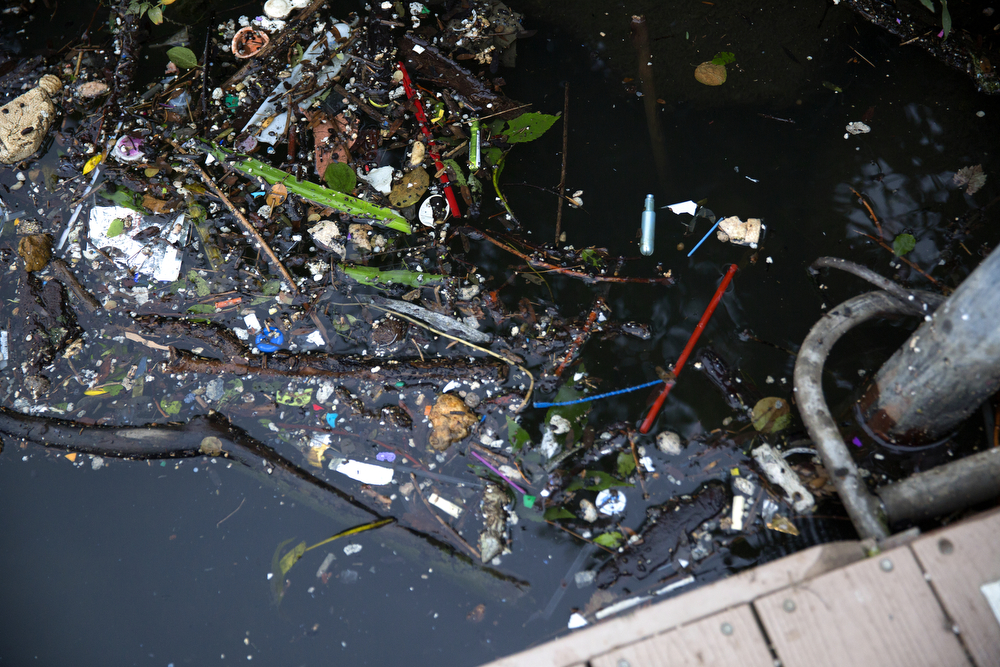 "Garbage and debris collect next to a dock along the South Fork of the Chicago River, also known as ""Bubbly Creek,"" August 26, 2015. (Erin Hooley/Chicago Tribune)"