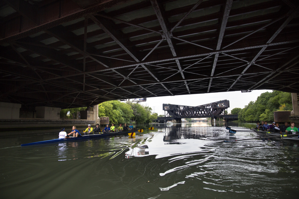 Members of the Recovery on Water breast cancer survivors rowing crew row under the South Western Avenue bridge on the South Branch of the Chicago River August 26, 2015. (Erin Hooley/Chicago Tribune)