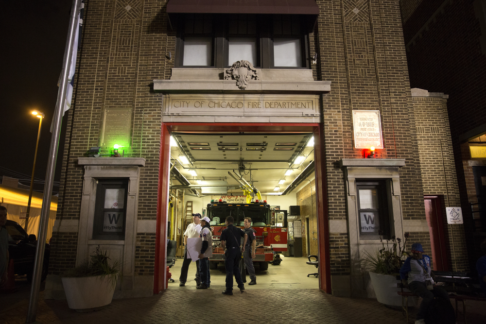 The Wrigleyville firehouse, home of Engine Co. 78 and Ambulance Co. 6, across from Wrigley Field, during game 3 of the National League Championship Series between the Chicago Cubs and he New York Mets Tuesday, Oct. 20, 2015. (Erin Hooley/Chicago Tribune)