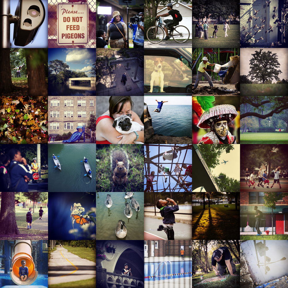 35 photos, 35 parks (plus one photo of a single speed camera next to Horner Park, top left corner). There are now 75 operating automatic speed enforcement cameras at 35 different parks around Chicago and another 71 at schools. More than $81 million dollars in fines was generated from these cameras between October 2013 and September 2015. The Chicago Tribune found that tens of thousands of drivers were ticketed under questionable circumstances.