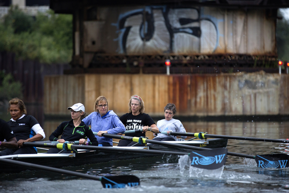 Members of the Recovery on Water breast cancer survivors rowing crew practice on the South Branch of the Chicago River August 26, 2015. The team practices on the river twice a week and launches from the area where the South Fork diverts from the South Branch. (Erin Hooley/Chicago Tribune)