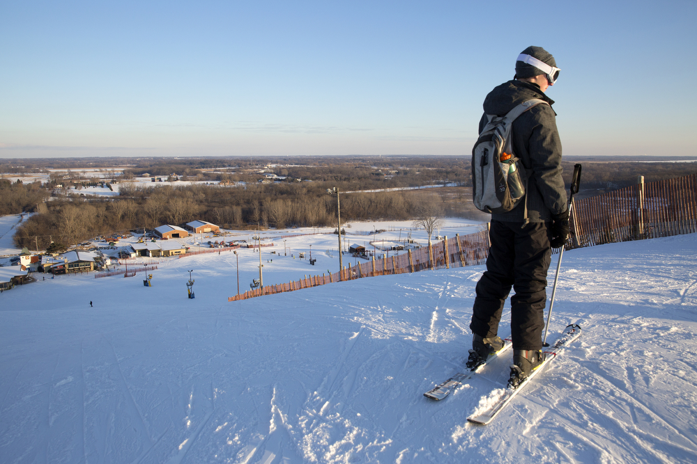 A skier prepares to go down the mountain at Wilmot Mountain Ski Resort Wednesday, Jan. 20, 2016, in Wilmot, Wis. The Colorado-based company Vail Resorts recently purchased Wilmot. (Erin Hooley/Chicago Tribune)