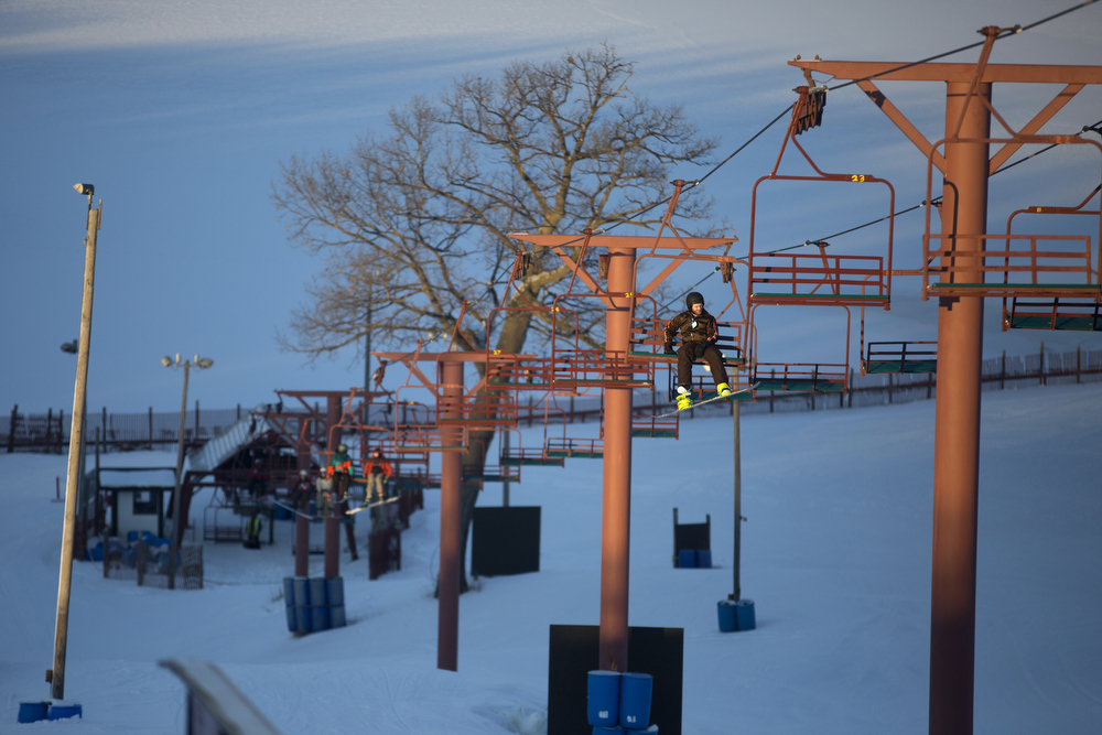 Skiers ride the lift up at Wilmot Mountain Ski Resort Wednesday, Jan. 20, 2016, in Wilmot, Wis. The Colorado-based company Vail Resorts recently purchased Wilmot. (Erin Hooley/Chicago Tribune)