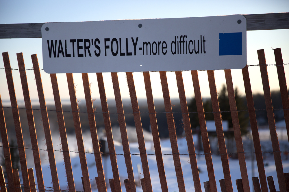 "A sign warns that Walter's Folly is a ""more difficult"" run at Wilmot Mountain Ski Resort Wednesday, Jan. 20, 2016, in Wilmot, Wis. The Colorado-based company Vail Resorts recently purchased Wilmot. (Erin Hooley/Chicago Tribune)"