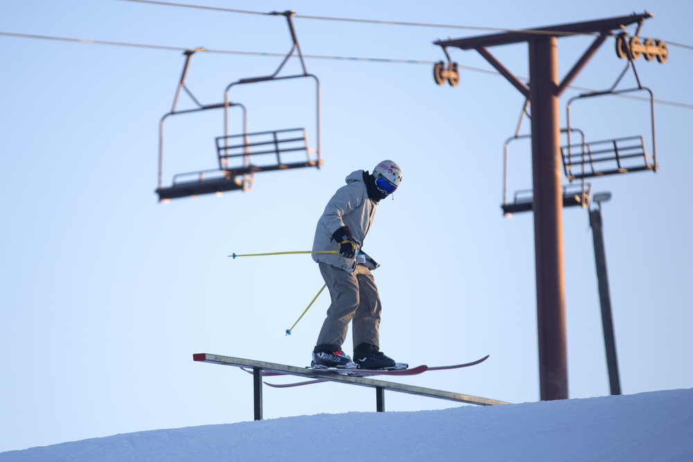 A skier goes off a rail at Wilmot Mountain Ski Resort Wednesday, Jan. 20, 2016, in Wilmot, Wis. The Colorado-based company Vail Resorts recently purchased Wilmot. (Erin Hooley/Chicago Tribune)