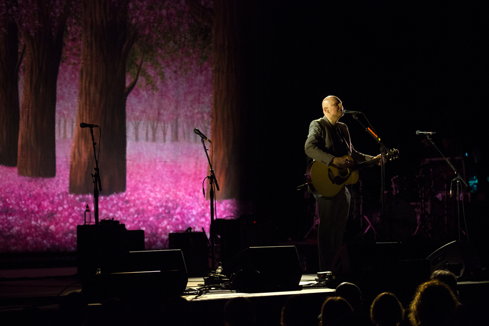 Billy Corgan performs an acoustic-electric show at the Civic Opera House Thursday, April 14, 2016, in Chicago. Corgan began the show solo but also played with other members of the Smashing Pumpkins. (Erin Hooley/Chicago Tribune)