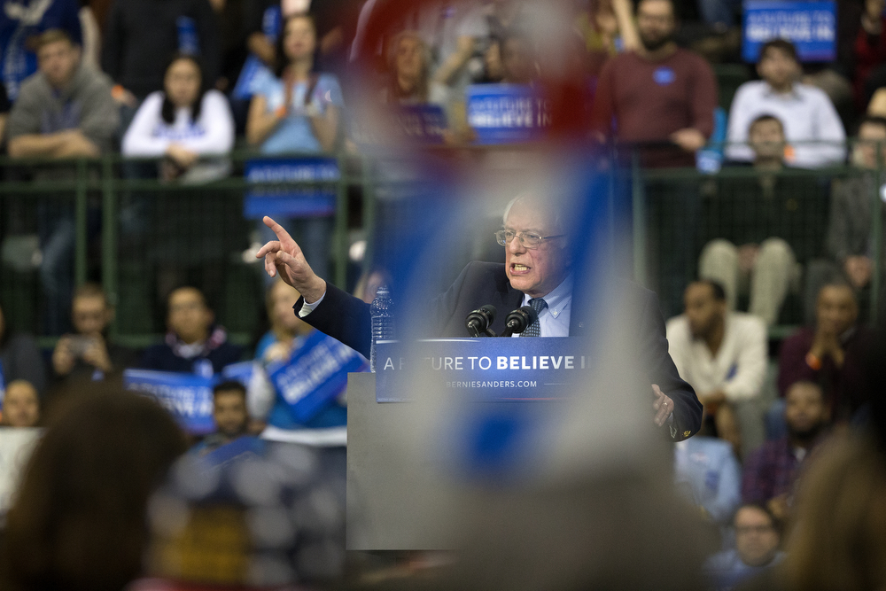 Vermont Sen. Bernie Sanders speaks at a rally during a stop on his Democratic presidential campaign at the Emil and Patricia Jones Convocation Center on campus at Chicago State University Thursday, Feb. 25, 2016, in Chicago. (Erin Hooley/Chicago Tribune)