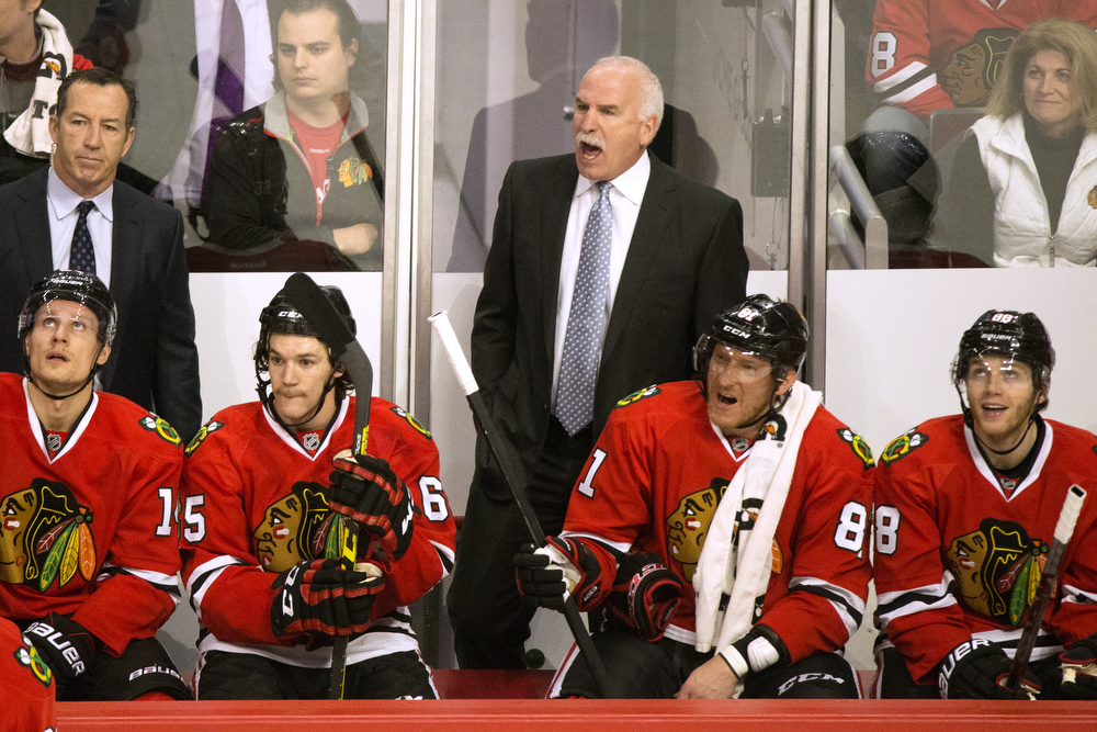 Blackhawks Head Coach Joel Quenneville yells from the bench after a Hawks goal was overturned due to a goalie interference ruling during the first period of the Chicago Blackhawks versus the San Jose Sharks game at the United Center Tuesday, Feb. 9, 2016, in Chicago. The game remained scoreless after the first. (Erin Hooley/Chicago Tribune)