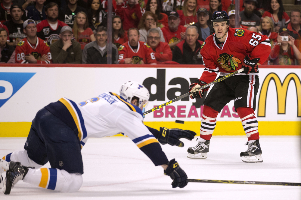 Chicago Blackhawks center Andrew Shaw's (65) shot is blocked during the first period of Game 3 of the Chicago Blackhawks versus St. Louis Blues Stanley Cup first-round Western Conference playoff series Sunday, April 17, 2016, at the United Center in Chicago. (Erin Hooley/Chicago Tribune)