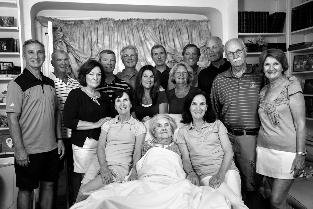 92-year-old Margaret Coleman, center, sits with her 14 children, from left, Rich Coleman, 55, Mike Coleman, 65, Diane Morris, 53, David Coleman, 54, Maribeth Rice, 61, Tom Coleman, 63, Cathleen Loch, 51, Dan Coleman, 47, Patty Griffin, 57, Maureen Kelly, 61 (twin to Maribeth), Tim Coleman, 62, Terry Coleman, 58, John Coleman, 67, and Peggy Cahill, 60, at the Coleman family home Sunday, July 24, 2016, in Chicago. In addition to her 14 children, Margaret Coleman currently has 48 grandchildren and 13 great-grandchildren. (Erin Hooley/Chicago Tribune)