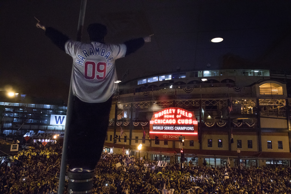 Fans celebrate the Chicago Cubs' historic World Series win over the Cleveland Indians Wednesday, Nov. 2, 2016, in Wrigleyville in Chicago. (Erin Hooley/Chicago Tribune)