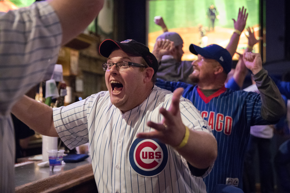 JP Stahl celebrates a play as he watches game 7 of the World Series between the Chicago Cubs and the Cleveland Indians Wednesday, Nov. 2, 2016, at the Cubby Bear bar across from Wrigley Field in Chicago. (Erin Hooley/Chicago Tribune)
