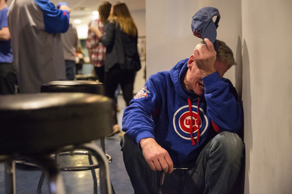 Fans celebrate outside Wrigley Field after the Chicago Cubs defeated the Los Angeles Dodgers in Game 6 of the National League Championship Series, sending them to the World Series, Saturday, Oct. 22, 2016, in Chicago. (Erin Hooley/Chicago Tribune)