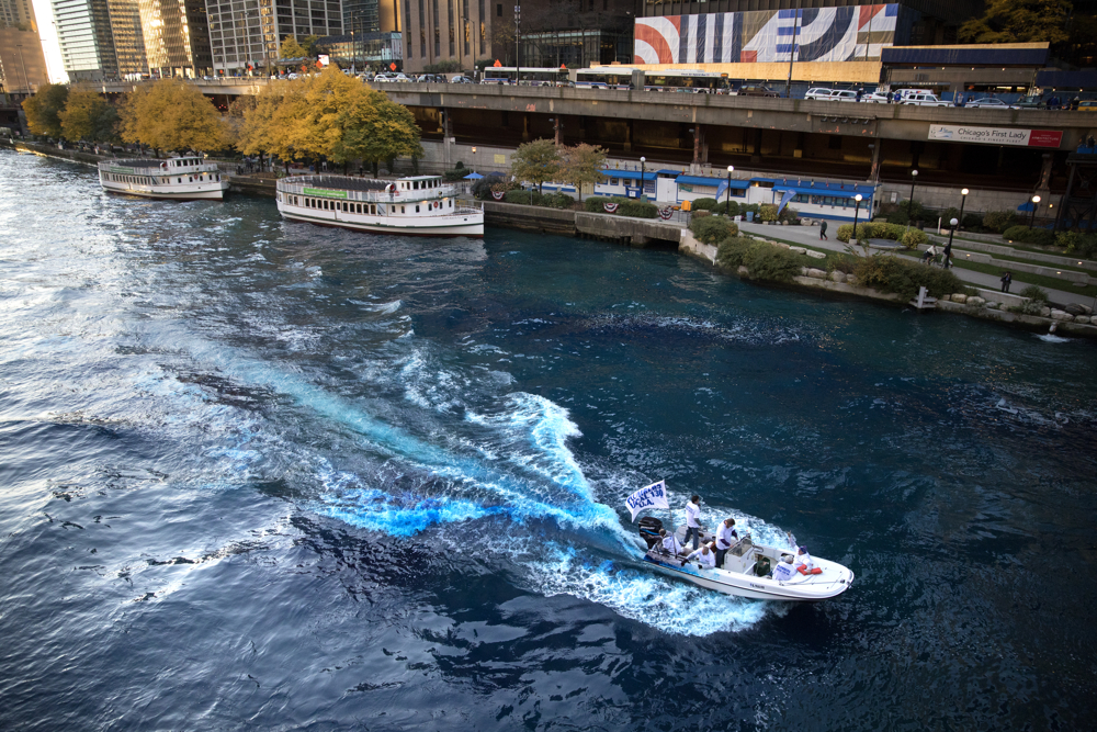 The Chicago River is dyed blue near the Michigan Avenue bridge in honor of the Chicago Cubs' historic World Series win Friday, Nov. 2016, in Chicago. (Erin Hooley/Chicago Tribune)