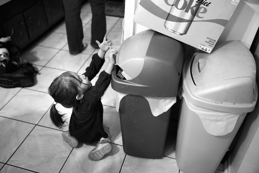 3-year-old Dayna Dorencz-Cuervo throws a wipe away in the garbage can at her home Wednesday, Jan. 25, 2017, in the Morgan Park neighborhood of Chicago. Dayna has spina bifida and several other health issues which require special care. She usually gets around by crawling at home and uses a wheelchair when she goes to preschool. (Erin Hooley/Chicago Tribune)