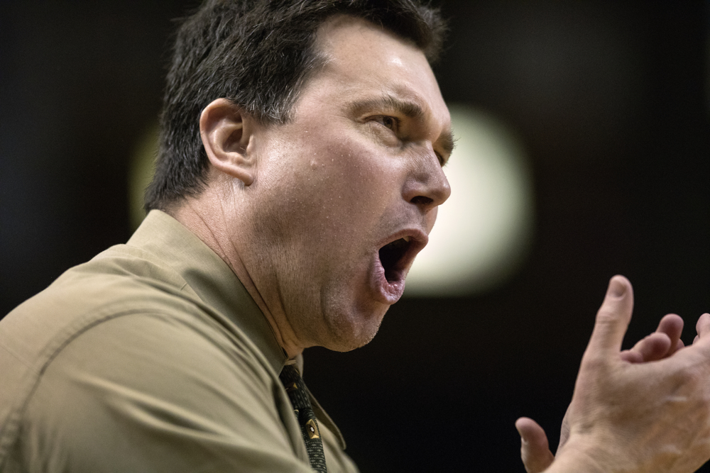 Fremd High School Head Coach Robert Widlowski yells during the first half of the Whitney Young Magnet High School versus Fremd High School Class 4A Semifinal game Friday, March 17, 2017, at Carver Arena in Peoria, Ill.  (Erin Hooley/Chicago Tribune)