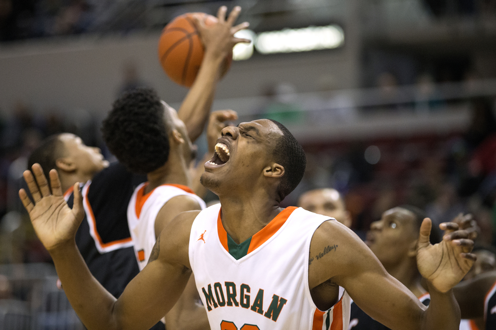 Morgan Park High School center Lenell Henry (23) reacts after getting fouled during the second half of the Morgan Park High School versus Lanphier High School Class 4A Semifinal game Friday, March 17, 2017, at Carver Arena in Peoria, Ill. Morgan Park defeated Lanphier 60-53. (Erin Hooley/Chicago Tribune)