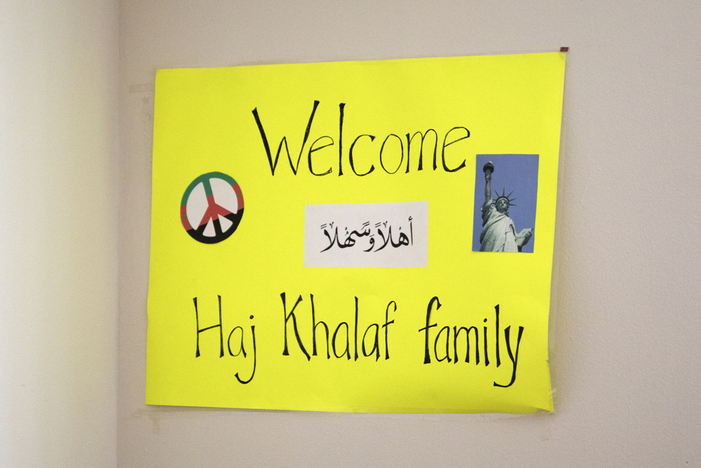 A sign hangs in the Haj Khalaf family home from when they arrived at O'Hare International Airport as Syrian refugees Friday, April 14, 2017, in Skokie, Ill. (Erin Hooley/Chicago Tribune)