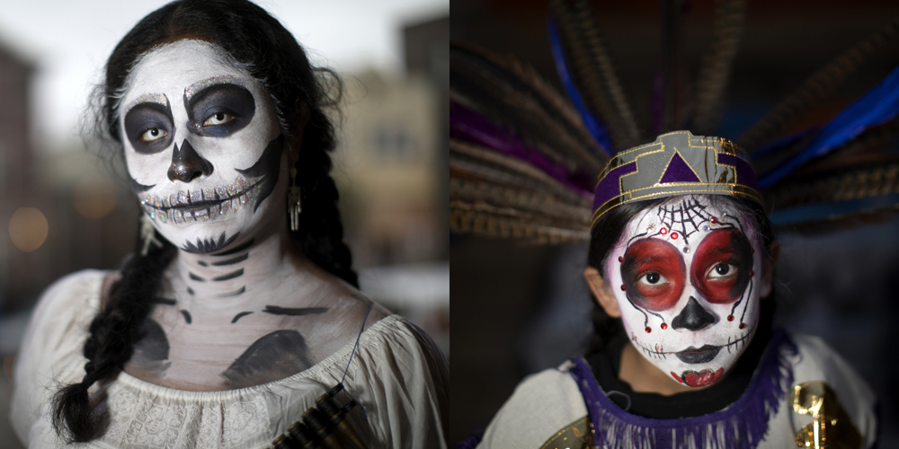 Yesica Cruz, left, and Elyza Gonzalez. Dia de los Muertos at Dvorak Park Thursday, Nov. 2, 2017, in the Pilsen neighborhood of Chicago.