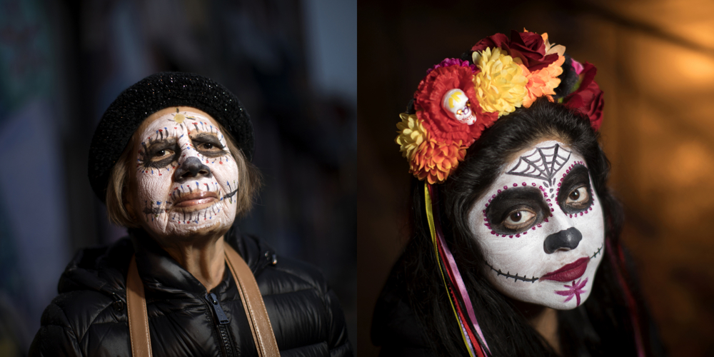 Isabelle Navarro, left, and Joanna Romero. Dia de los Muertos at Dvorak Park Thursday, Nov. 2, 2017, in the Pilsen neighborhood of Chicago.