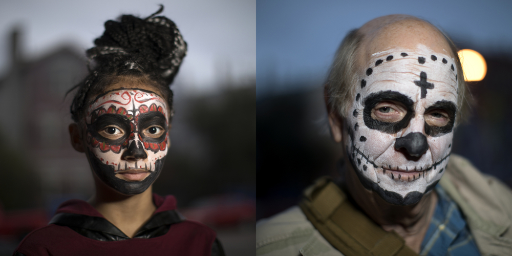 Serena Iman, left, and Mike Atwell. Dia de los Muertos at Dvorak Park Thursday, Nov. 2, 2017, in the Pilsen neighborhood of Chicago.