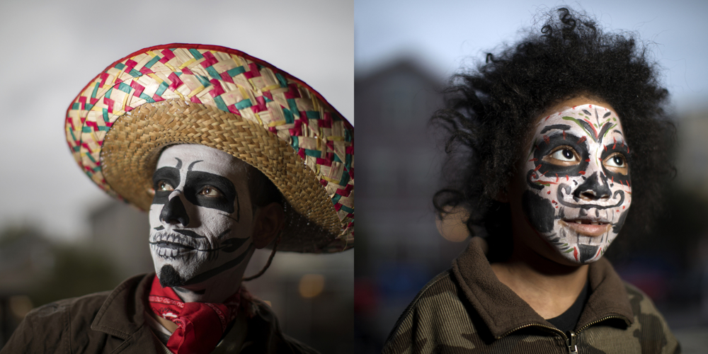 Victorio Velasquez, left, and Seraph Iman . Dia de los Muertos at Dvorak Park Thursday, Nov. 2, 2017, in the Pilsen neighborhood of Chicago.